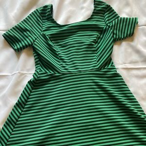 Striped Green Fit and Flare Dress